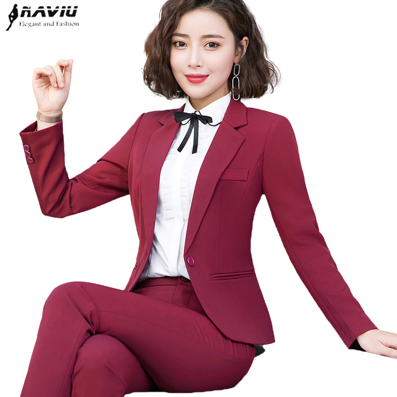 Fashion clothes Business interview women pants suits plus size work office ladies long sleeve slim Formal