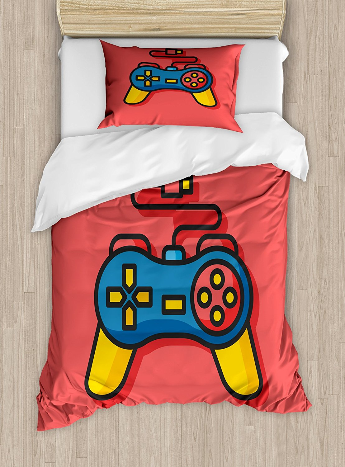 Gamer Duvet Cover Set Old School Colorful Videogame Controller with Minimalist Style D-Pad and Triggers 4 Piece Bedding Set