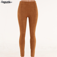 2017 New Autumn Winter Women Long Trousers Solid Suede Bound Feet High Elasticity Leggings Tootsies Tight