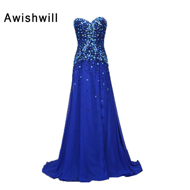 US $147.26 26% OFF|Real Photo Sweetheart Beading Rhinestones Chiffon Custom  Plus Size Royal Blue Evening Dresses Long Prom Dresses Formal Gowns-in ...