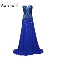 Real Photo Sweetheart Rhinestones Rebordear Gasa Custom Plus Size Royal Blue Vestidos de Noche Largo Vestidos de Baile Vestidos Formales