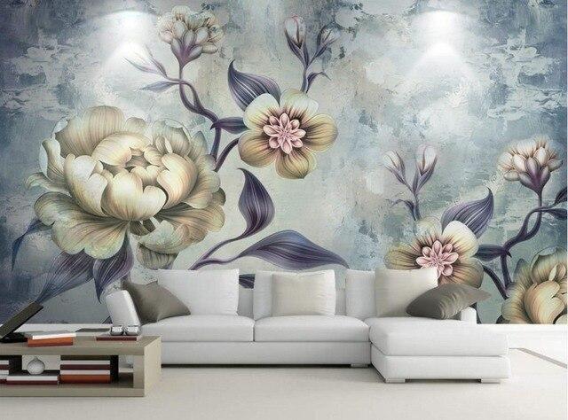 Tapeten Für Kinderzimmer European Handgemalte Retro Blumen Tapeten  Wandbilder Wohnzimmer Schlafzimmer Hintergrund Dekoration Malerei