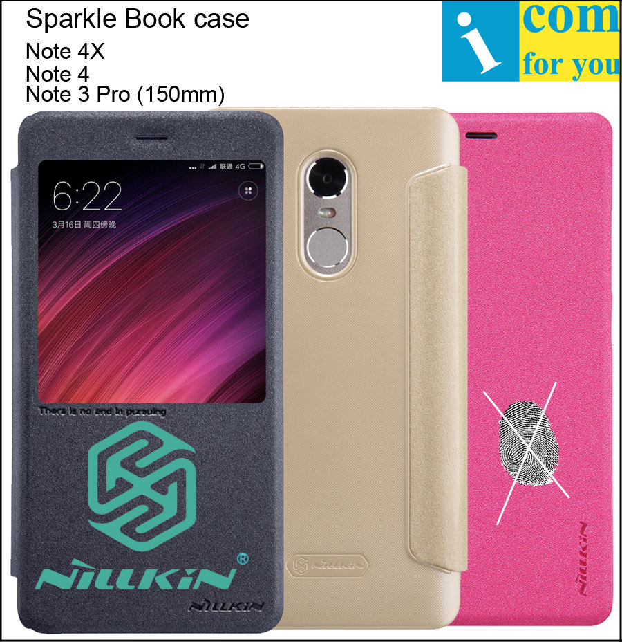 Nillkin Sparkle Book Leather Flip Case Cover For Xiaomi Redmi Note 4X Note 4 Note4 Note 3 Pro Smart Sleep