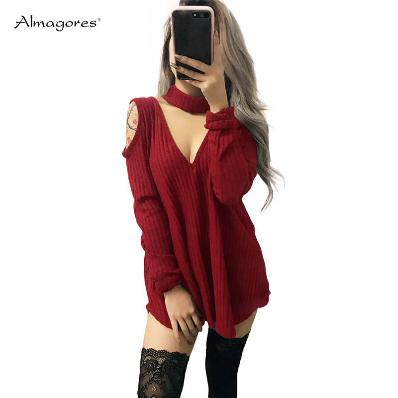 Almagores Slim Kitted Sweater Dresses Women Off Shoulder Deep V Neck Knitted Dress Sexy Choker Bodycon Party Dress Vestidos rocksir sexy off shoulder bodycon dress women pearl v neck knitted dress spring backless sashes sweater party dresses vestidos