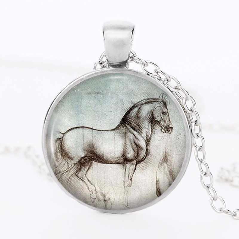 2018 خمر الحصان بيان قلادة المرأة القوطية الزجاج كابوشون الفضة مطلي سلسلة قلائد DIY مجوهرات