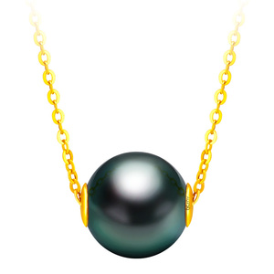 Image 5 - YS 18K Solid Gold Chain Genuine Saltwater Cultured Tahitian Pearl Pendant Necklace