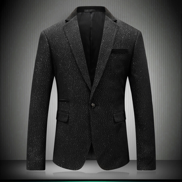 Korean Style Clothing Men 2018 Fashion Brand Male Blazer Solid Snow Point Wedding Men Stage Wear Tuxedos Formal Jacket 8655