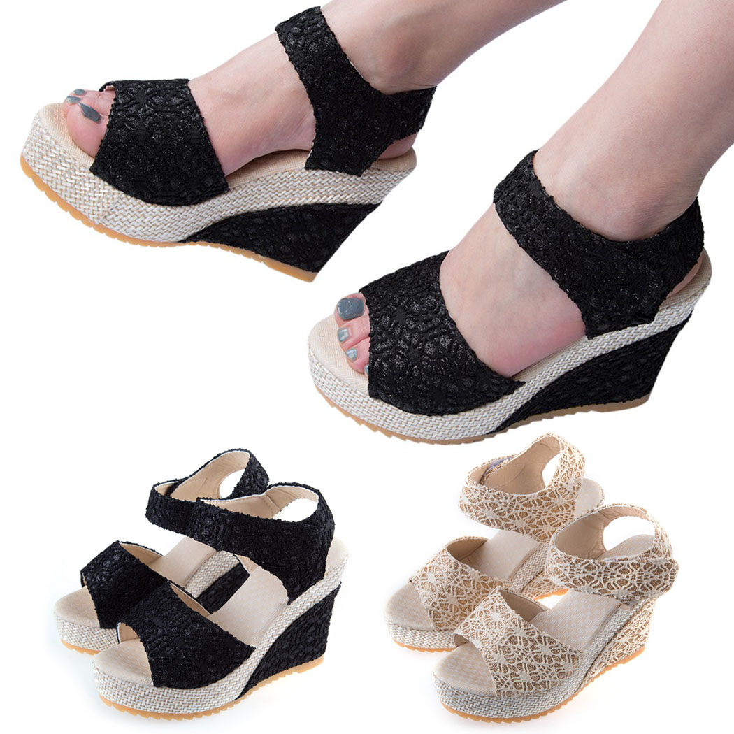 3e63cb3419a0 2018 Summer New Fashion Women Sandals Open Toe Fish Head Platform Magic  Tape High Heels Wedge Sandals Female Shoes