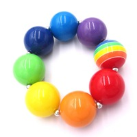 Lovely New Year Festival Gift To Baby Girl Rainbow Color Acrylic Beaded Chunky BubbleGum Strand Bracelets Bangle Outfits Jewelry