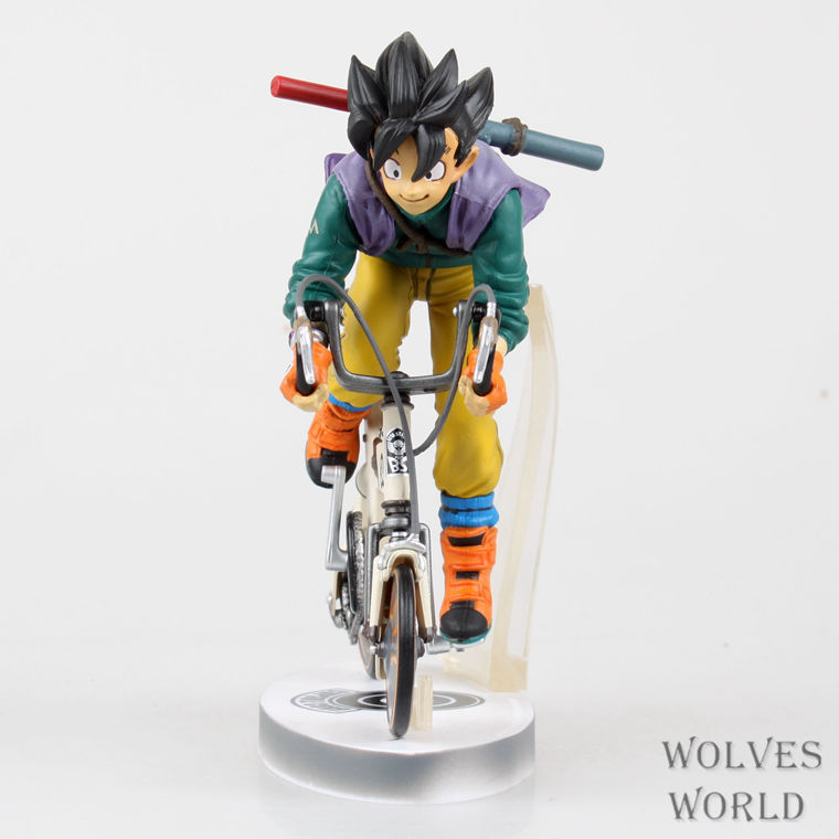 anime Dragon Ball z son goku Ride on a bicycle action figure pvc classic collection figure model garage kit 23cm Brinquedos anime one piece dracula mihawk model garage kit pvc action figure classic collection toy doll