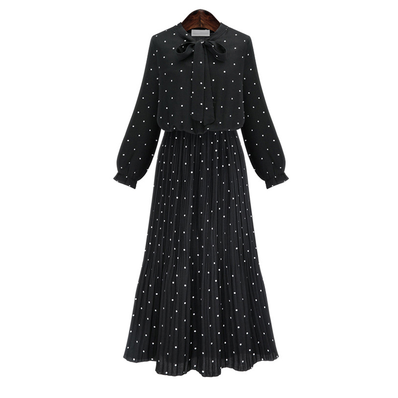 Long Sleeve Solid Black Chiffon Dot Loose Big Size Dress Women Fashion Tide Plus Size Straight dreeses