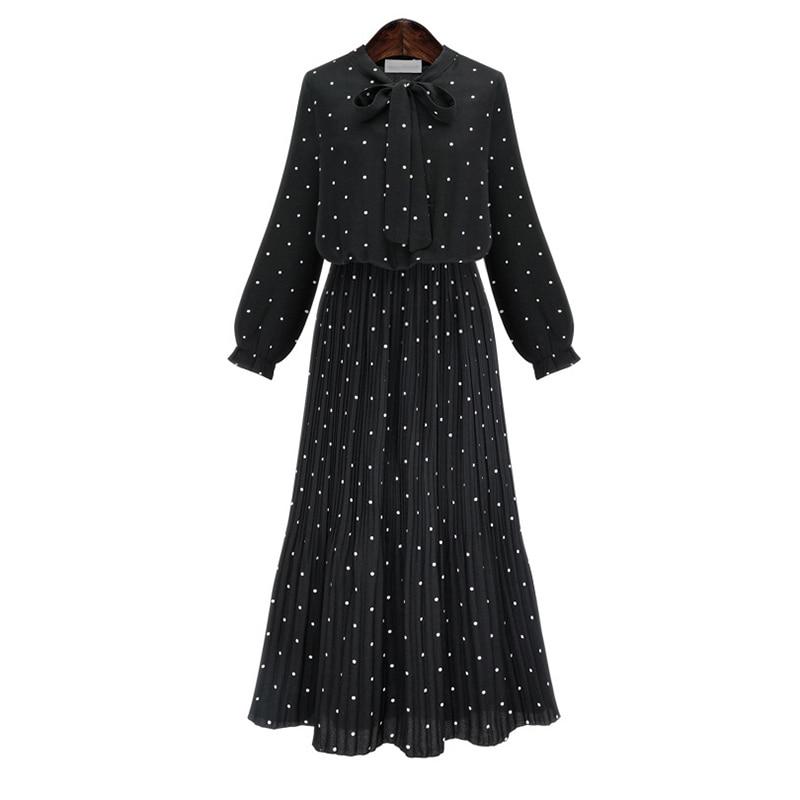 Long Sleeve Solid Black Chiffon Dot Loose Big Size Dress Women Fashion Tide Plus Size St ...
