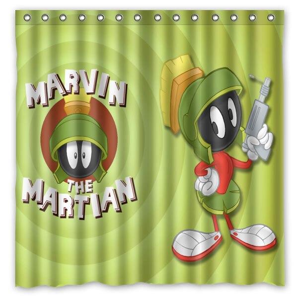Marvin le martien Polyester rideau de douche imperméable 12 pc crochets résistant à la moisissure rideau de bain maison salle de bains décor