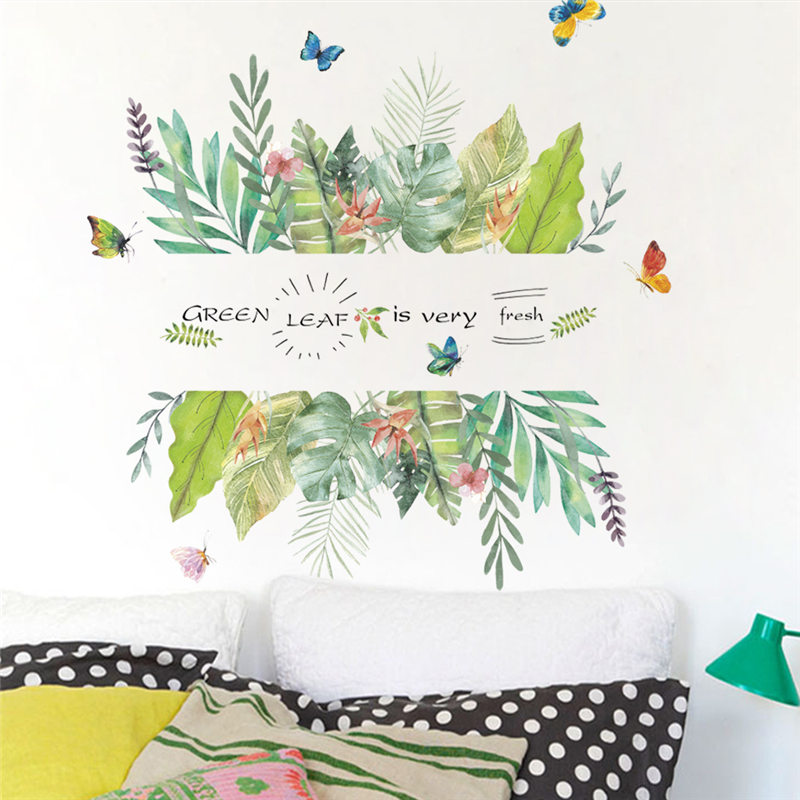 green leaf plant butterfly wall stickers home decor living room pvc wall decals diy mural art decorative posters