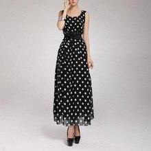 Модное женское шифоновое длинное платье в горошек без рукавов, вечерние платья макси