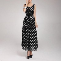 Fashion Women S Chiffon Polka Dot Long Sleeveless Maxi Party Dress Gown Plus Sizes Hot With