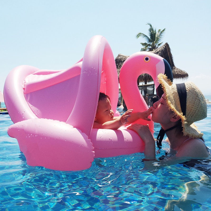 Baby Float Inflatable Flamingo Swimming Seat Ring With Sun Shade Swim Circle Arm Rings Kids Pool Toys Floating Island Accessory