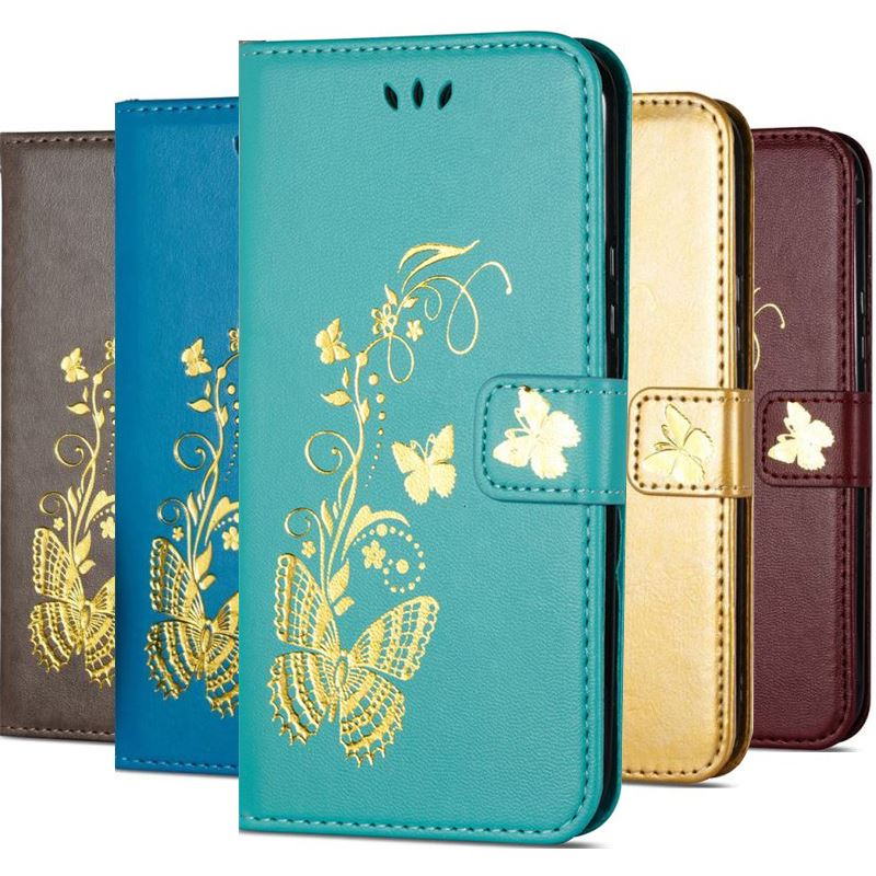 Luxury Gilding Butterfly Case For Funda Samsung Galaxy S9 S8 S6 Edge Plus S5 Mini Note 4 5 j100 j700 G360 G850 Wallet Cover P02G