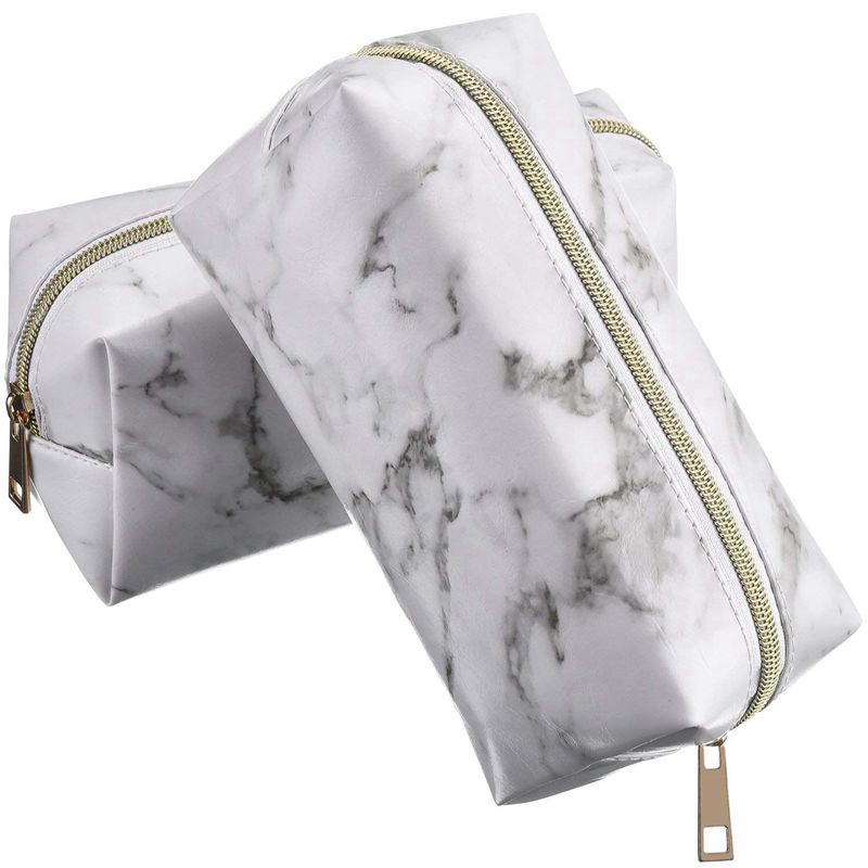 2 Pieces Cosmetic Toiletry Makeup Bag Pouch Gold Zipper Storage Bag Marble Pattern Portable Makeup Brushes Bag