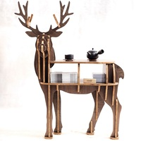 New! High end S size lookback reindeer table Wooden home furniture! self build puzzle furniture