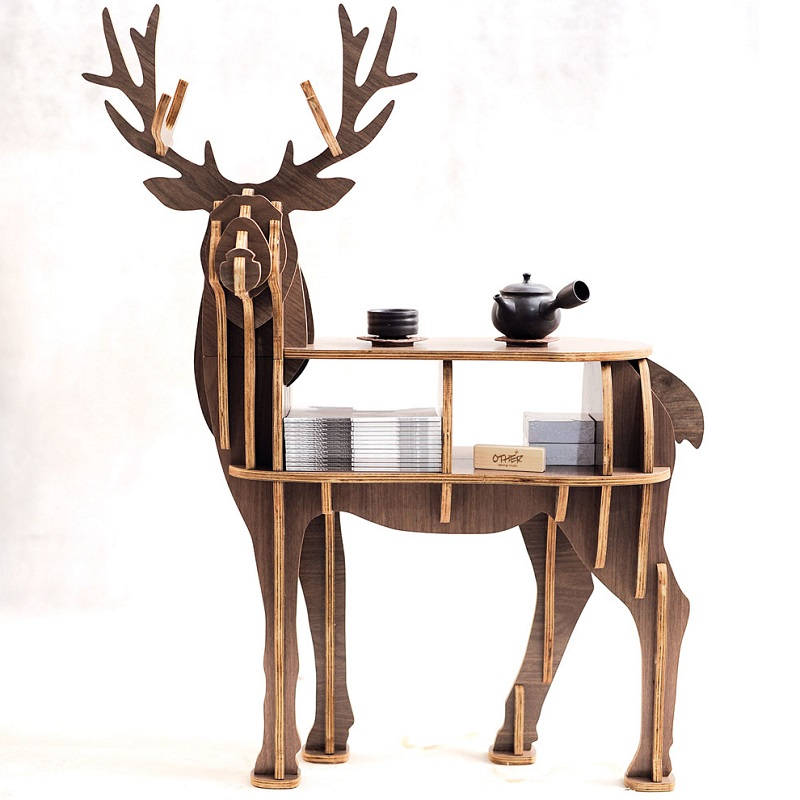 "New! High End ""S"" Size Lookback Reindeer Table Wooden Home"
