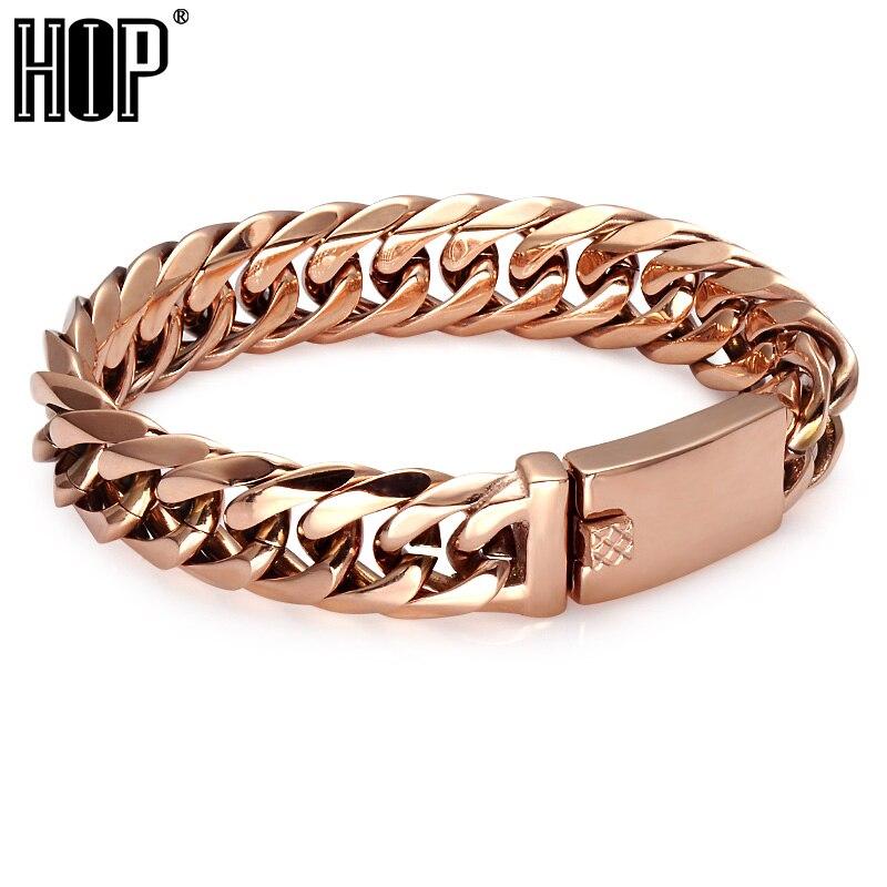 HIP 210*16MM Double Curb Cuban Chain Bracelet Rose Gold Color Titanium Stainless Steel Bangles & Bracelets For Men Jewelry