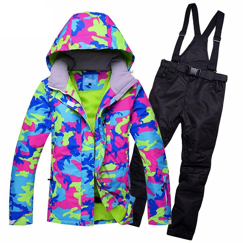 все цены на Mountain Skiing Suit Women 2017 New Ski Suit Winter Outdoor Waterproof Ski Jacket + Multi Color Snow Pants Snowboarding Suits XL онлайн