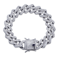 Bling Iced Out Full Crystal Pave Men's Bracelet Gold Silver Color Clasps Copper Miami Cuban Bracelets For Men Hip Hop Jewelry