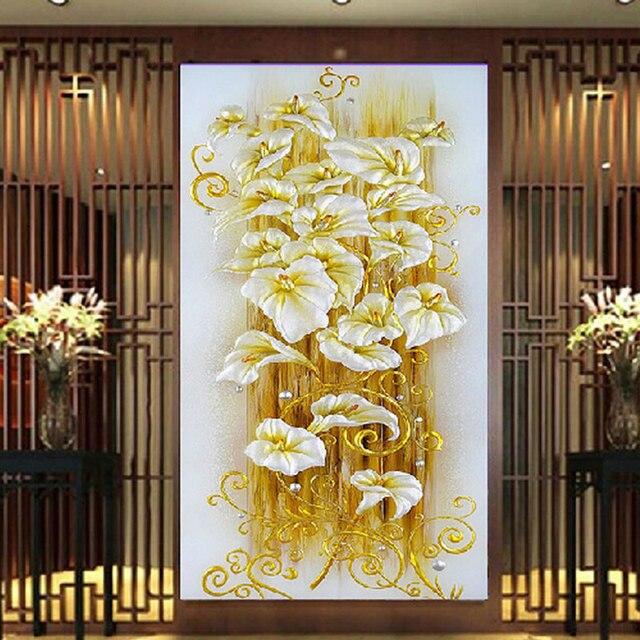 New 5D Crystal Flower Lily Cross Stitch Rhinestone Wall Stickers DIY ...