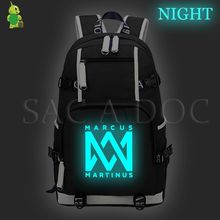 Marcus&martinus Large Backpack Luminous Laptop Backpack Fashion School Bags for Teenage Girls Boys Travel Bags Casual Rucksack(China)