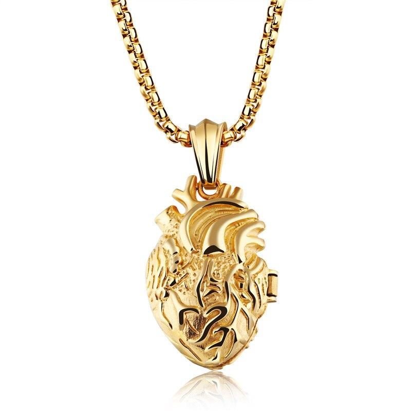 Linsoir преувеличены Кулон Сердце Цепочки и ожерелья Для мужчин Jewelry Нержавеющаясталь мужской Цепочки и ожерелья анатомически Органы для таи...