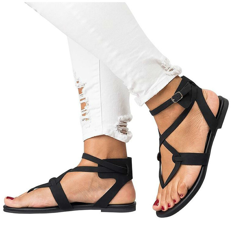 2018 new women sandals Gladiator Summer Women Shoes Plus Size 35-43 Flats Sandals Shoes  ...