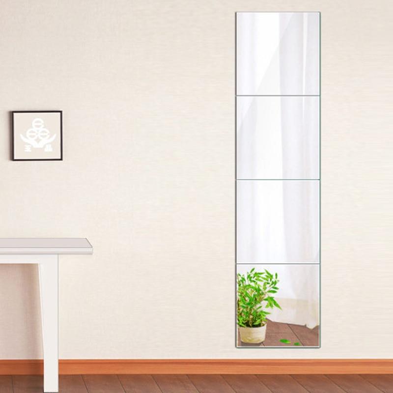 4 espelhos de plástico acrílico comprimento total, emenda, 300x300mm, auto-adesivo, penteadeira, micro decoração de móveis para casa
