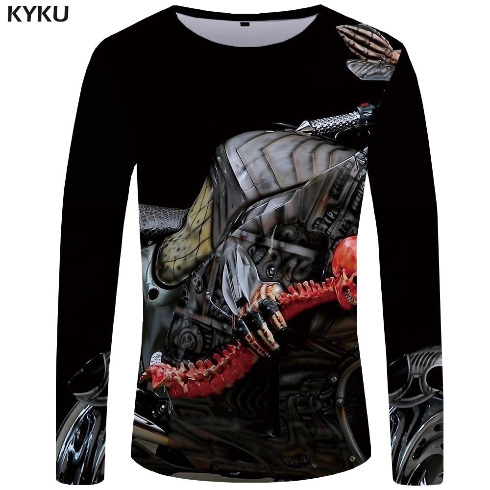 KYKU Brand Skull <font><b>T</b></font> <font><b>shirt</b></font> Men <font><b>Long</b></font> <font><b>sleeve</b></font> <font><b>shirt</b></font> <font><b>Motorcycle</b></font> Anime Rock Printed Tshirt Punk <font><b>Graphic</b></font> 3d <font><b>T</b></font>-<font><b>shirt</b></font> Punk Mens Clothing