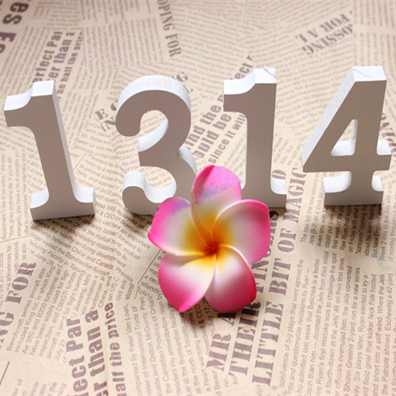 Hot white 8 x wooden numbers 0 9 for wedding for Shoulder decoration 9 letters