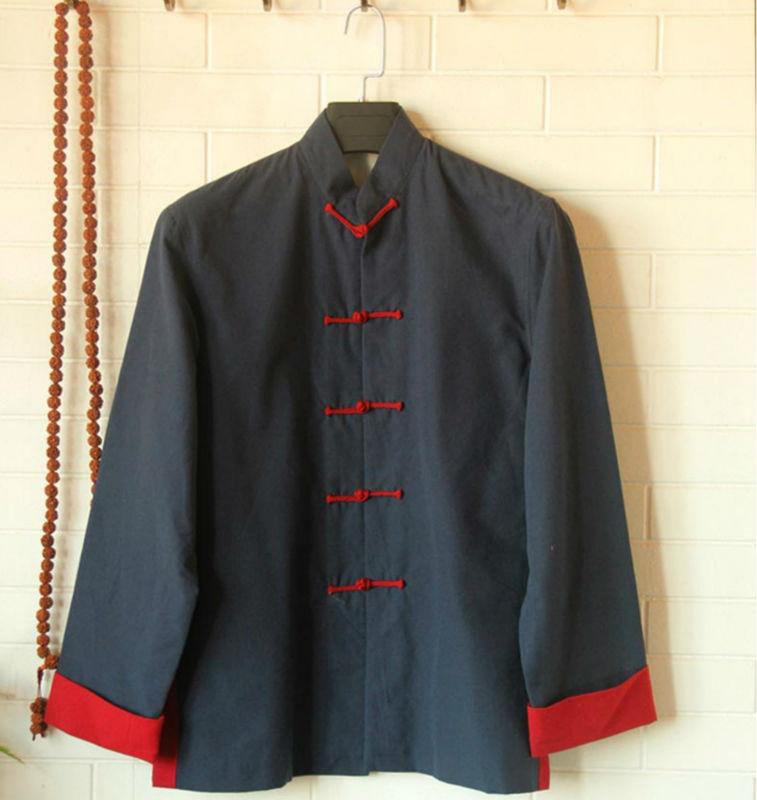 Кунг-фу рубашка 100% хлопок старый грубый тан-костюм мужской с длинными рукавом тай-чи одежда куртка стиле мужская одежда многоцветный