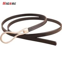 Black Leather Thin Belt For Women Dresses Genuine Leather Strap Waist Belt Woman Luxury Brand High
