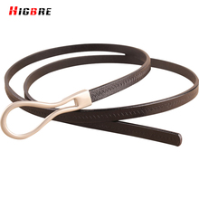 Black Leather Thin Belt For Women Dresses Genuine Leather Strap Waist Belt Woman Luxury Brand High Quality Cinturones Mujer Red