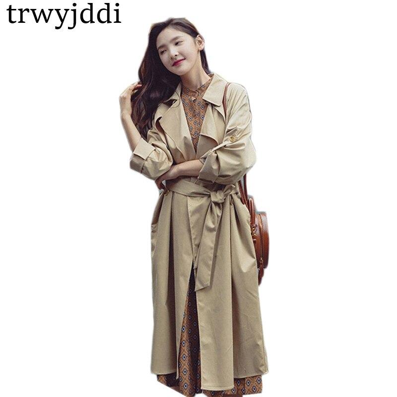 Spring Women Clothing 2018 Women   Trench   Coats Long Sleeve Fashion Turn-Down Collar Long Korean Mujer Overwear Windbreaker hl426