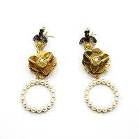 Catwalker Baroque Earrings Pearls Circle Flowers Trees Earrings Temperament Retro Big Earrings 826