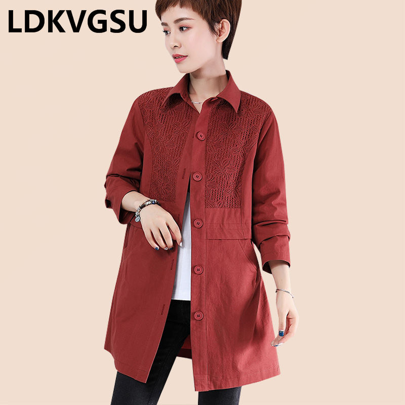 Middle-aged Ladies   Trench   Coat 2019 Spring Autumn New Large Size Solid Long-sleeved Lapel Single Breasted Windbreaker Is1704
