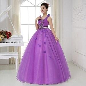 Image 2 - Sexy V hals Sheer Terug Crystal Kralen Light Purple Quinceanera Jurken Baljurken Blauw Prinses Prom Dresses Vestido Debutantes