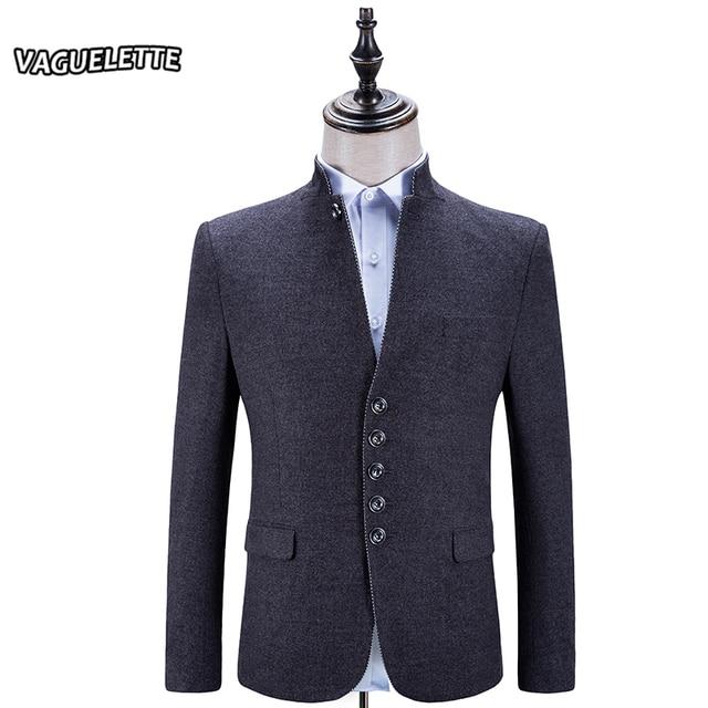 b03df83b1cd Luxury Chinese Mandarin Collar Blazer Homme Classic Vintage Mens Clothing  Tweed Skinny Grey Men Casual Blazer 2017 M-3XL