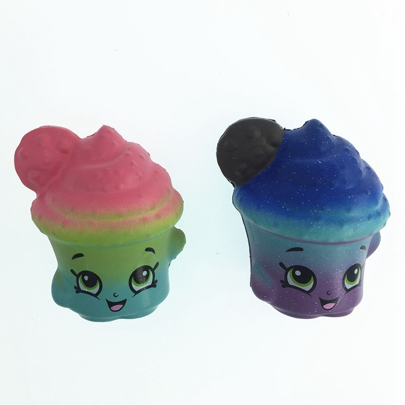 1PCS Cute Cartoon Face Colorful Cookies Cup Squeeze Slow Rising Kid Fun Toy Gift