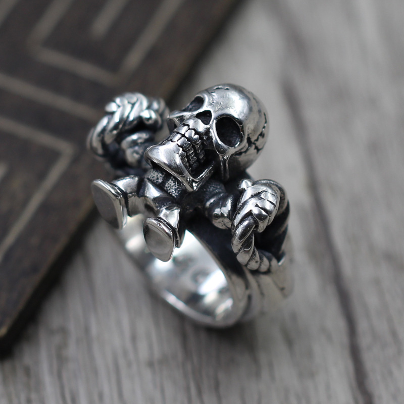 Thai Silver men's Domineering Personality Skeleton Ring S925 Sterling Silver Jewelry Retro Punk Wind Ring s925 sterling silver skull ring metrosexual officers personality of world war ii punk man retro silver ring opening