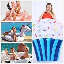 150cm Giant Flower Print Swan Inflatable Float For Adult Pool Party Toys Green Flamingo Ride-On Air Mattress Swimming Ring boia(China)