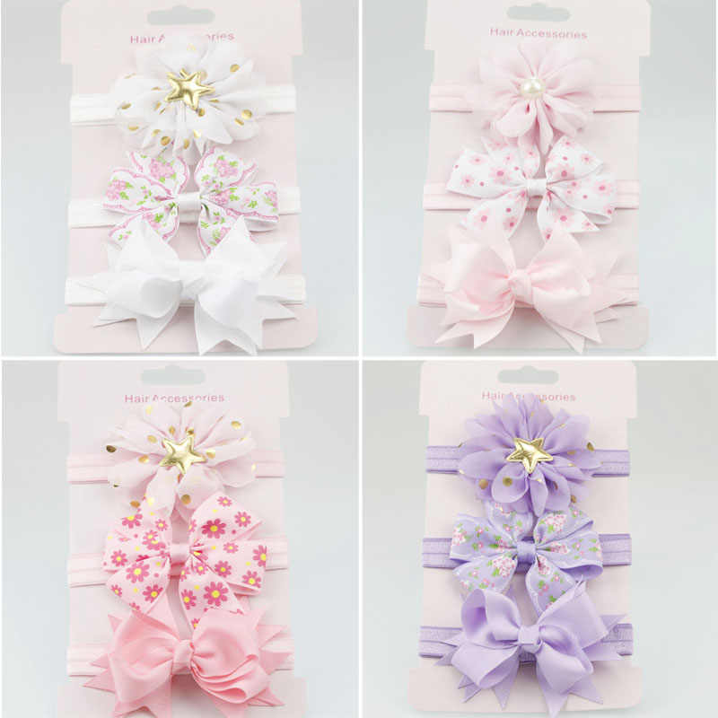 3Pcs/Set Baby Girl Headbands Elastic Bowknot  Hair Band Turban Kids Skinny Stretchy Flower Hairband Baby Hair Accessories