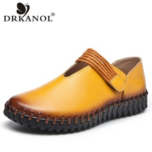 DRKANOL Vintage style Women Flat Shoes Handmade Women Loafers Comfortable Genuine Leather Flats Round Toe Women Casual Shoes