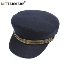 9611eb6dbf2e7 BUTTERMERE Navy Blue Military Caps Women Cotton Elegant Captain Hat Top  Flat Female Chain British Sailor