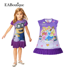 New 2016 summer Despicable Me princess Retail girl print dress brand children casual kidsdress POLYESTER kids clothes party CX